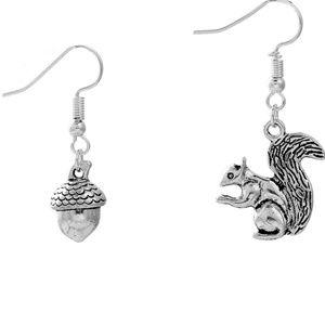 Squirrel Acorn Fall Asymmetrical Silver Earrings